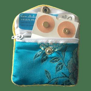 set de bolsillo con 4 imanes dorados