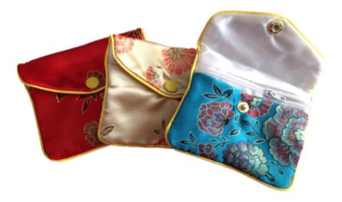 Buste di seta con cerniera 9 x 12 cm, sacchetti in seta con cerniera